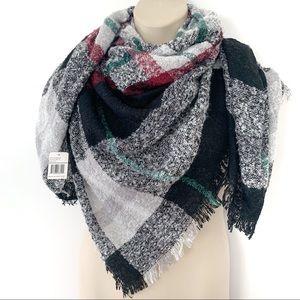 Quagga Plaid Boucle Blanket Scarf Wrap Shawl NWT